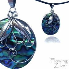 Genuine 925 SOLID Sterling Silver Paua Abalone Pendant Handmade Swirls Leaves