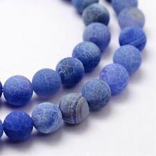 15 Natürliche Regenbogen Achat Perlen 8mm Blau Kugel Edelsteine BEST G295