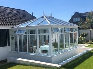 UPVC White Apple Conservatory with glass roof