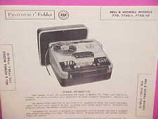 1958 BELL & HOWELL TAPE RECORDER SERVICE REPAIR MANUAL MODELS 770 775G-1 775G-10