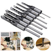 7 Pcs Square Hole Saw Drill Bit Set Mortising Chisel Twist Auger Drill Woodwork