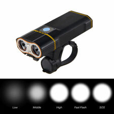 2LEDs 2400LM Bicycle Headlight USB Rechargeable Waterproof Bike Front Light