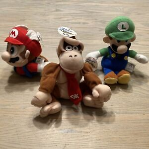 Nintendo 64 N64 - Vintage Beanie Plush Lot - BD&A - Mario, Luigi & Donkey Kong!!
