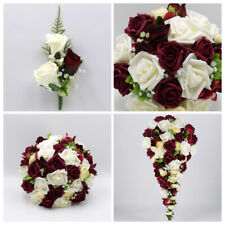 Artificial Wedding Flowers Burgundy Ivory Hydrangea Rose Bouquet Package
