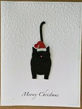 Handmade / Hand Embossed Holiday Card - Christmas Card - black cat with hat