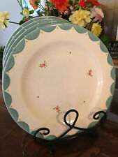 Gabriella Miller Designs by Fenton    Blue/Cream Dinner Plates  Set of 4    New!