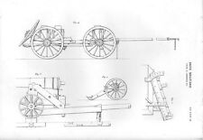Stampa antica ARTE MILITARE CANNONI montati su carri 1848 Old print