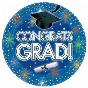 "Dazzling Grad Congrats School College Graduation Party 7"" Paper Dessert Plates"