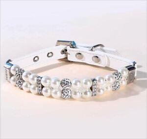 White Faux Pearl and Rhinestone Pet Dog Collar