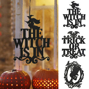 Halloween Wooden Pendant Pumpkin Spider Bat Witch Ghost Hanging Ornaments Decor