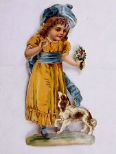 Large Embossed Victorian Die-Cut Adorable Girl Yellow Dress & Dog Flowers L20