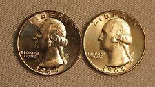 1964 P-D Washington Silver Quarter Dollars- 2 coins- 25C