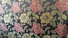 Brown Satin Jacquard Floral Melon Gold Green Upholstery Fabric 2.5 Yard Piece