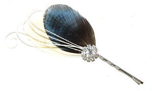 Ivory Silver Cream Peacock Feather Hair Grip Bobby Pin Fascinator Bridal 4077