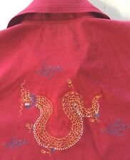 VTG BOWLING BRAND S/S EMBROIDERED CHINESE DRAGON POLO SHIRT Maroon XL