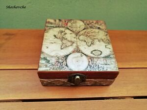 Wooden memory world map box,Jewelry decoupage box,Vintage style box,Trinket box
