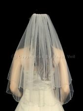 2T Ivory Bridal Elbow Length Silver Beaded Scalloped Edge Wedding Veil