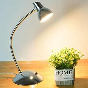 LED Desk Lamp 5W Eye-Caring Table Lamp 3000K Warm White Silver Chrome
