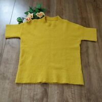 Cos bright yellow boxy heavy vest top size 14 short sleeve wool blend round neck