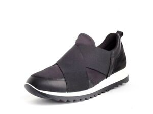 Schuh Frau Turnschuhe IMAC 408470 Mit Schwarz Stoff+Echtes Leder Made IN Italy