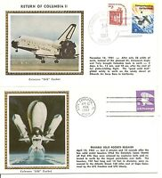 USA. Space Shuttle Columbia I and II. Lift off, Return. Colorano Silk Cachet
