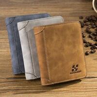 Mens Bifold Business PU Leather Card Holder Coin Pocket Wallet Money Bag Purse