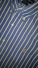 RALPH LAUREN YARMOUTH Blue & White Striped Long Sleeve Shirt Size 16-33 Mens