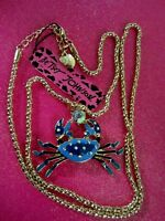 Betsey Johnson Blue Crab Necklace