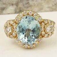4.50Ct Natural Aquamarine and Diamond 14K Solid Yellow Gold Ring