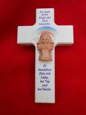 Kinderkreuz Keramikengel Holzkreuz Kinderkreuze Taufe Geburt Kreuz 15 x 9 cm