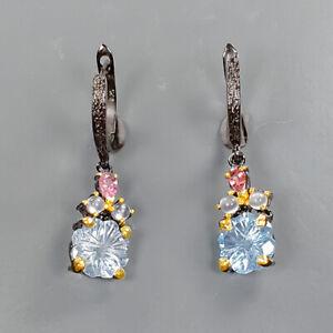 Handmade Blue Topaz Earrings Silver 925 Sterling   /E57730