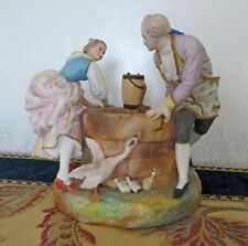 Antico gruppo porcellana francese XIX secolo - scena galante intorno a un pozzo