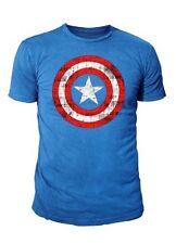 Marvel Comics - Captain America Herren T-Shirt - Shield Logo (Cobalt)  (S-XL)