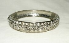 "Clamper fits 6.5"" wrist Rhinestone Silver Plated Bangle Bracelet"