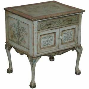 RARE CIRCA 1900 HAND PAINTED CLAW & BALL FEET SIDE END LAMP WINE TABLE CUPBOARD