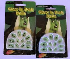 Halloween Decorated Nails Glow In The Dark Spider Web & Bats Two Complete Sets