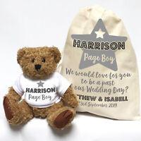 Wedding Proposal Teddy Bear Gift | Personalised | Page Boy Grey Star