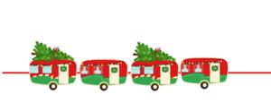 Vintage Christmas Caravan Style Bunting 4 individual card caravans on ribbon