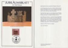 Jubiläumsblatt der Stadt Speyer zur Salier-Ausstellung (mit Marke MiNr.1065)