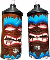 Blue Flame Design HANDCARVED Wood Table TOP Tiki Torches with Free Cannisters