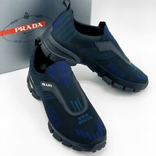 NIB PRADA Men's Tech Knit UK 8.5 US 9.5 Leather Black Blue Sneakers Shoes $695