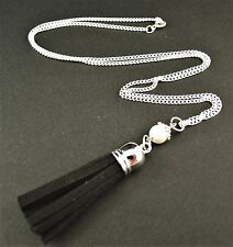 Faux Suede Tassel Necklace Pendant with a Glass Pearl Bead - Black - # 878