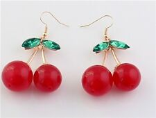 Sweet Fashion Charm Cherry Rhinestone Drop Dangles Stud Ear Hoop Earrings Gift