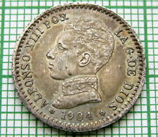 SPAIN ALFONSO XIII 1904 50 CENTIMOS, SILVER UNC LUSTRE PATINA