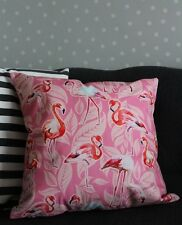 Tropical Pink Flamingo Cushion Cover. Leaves, Bird, Velvet, Luxury, Hot pink