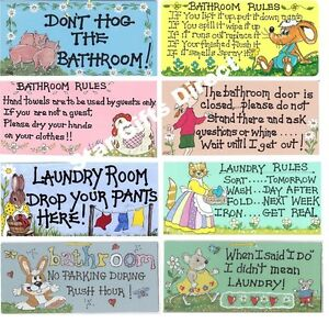 BATHROOM / LAUNDRY FUNNY SMILEY SIGN New Wall Hanging Plaque *SENT 1ST CLASS*