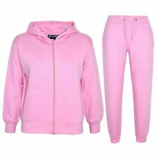 Kids Girls Boys Plain Tracksuit Hooded Hoodie Bottom Jogging Suit Joggers 2-13Yr
