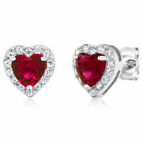 2.32 Ct Heart Shape Zirconia 925 Sterling Silver Women's Earrings