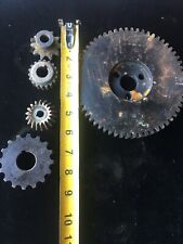 Industrial Machine Steel Lot Of 5 Gears/Cogs Steampunk Art Parts Lamp Base Lot 8