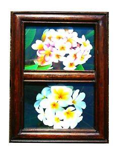 Elegant reclaimed teak wood double 6 x 4 inch photo frame.